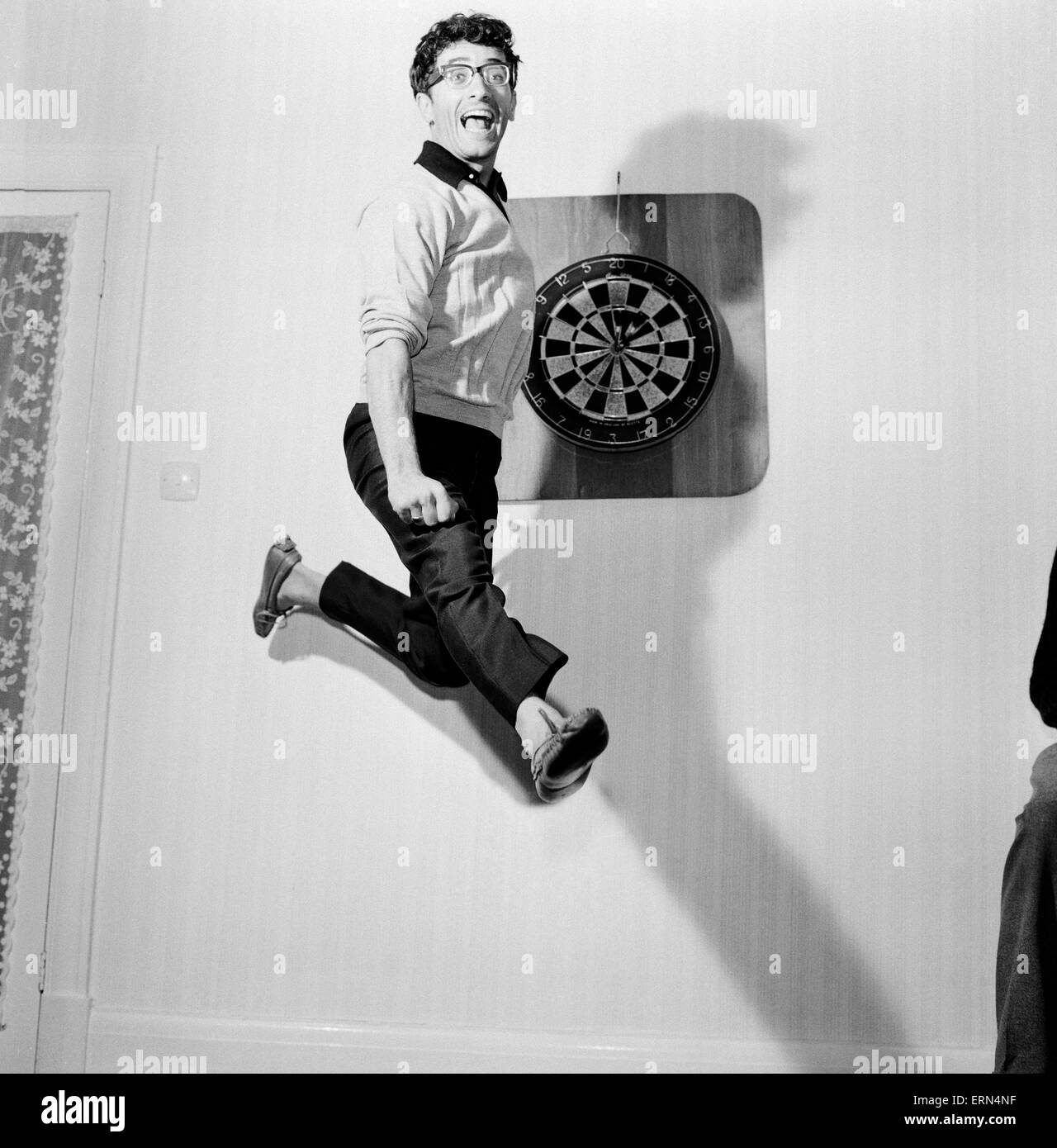 Freddie Garrity of Freddie and The Dreamers pictured leaping in the air. 3rd May 1965 Stock Photo