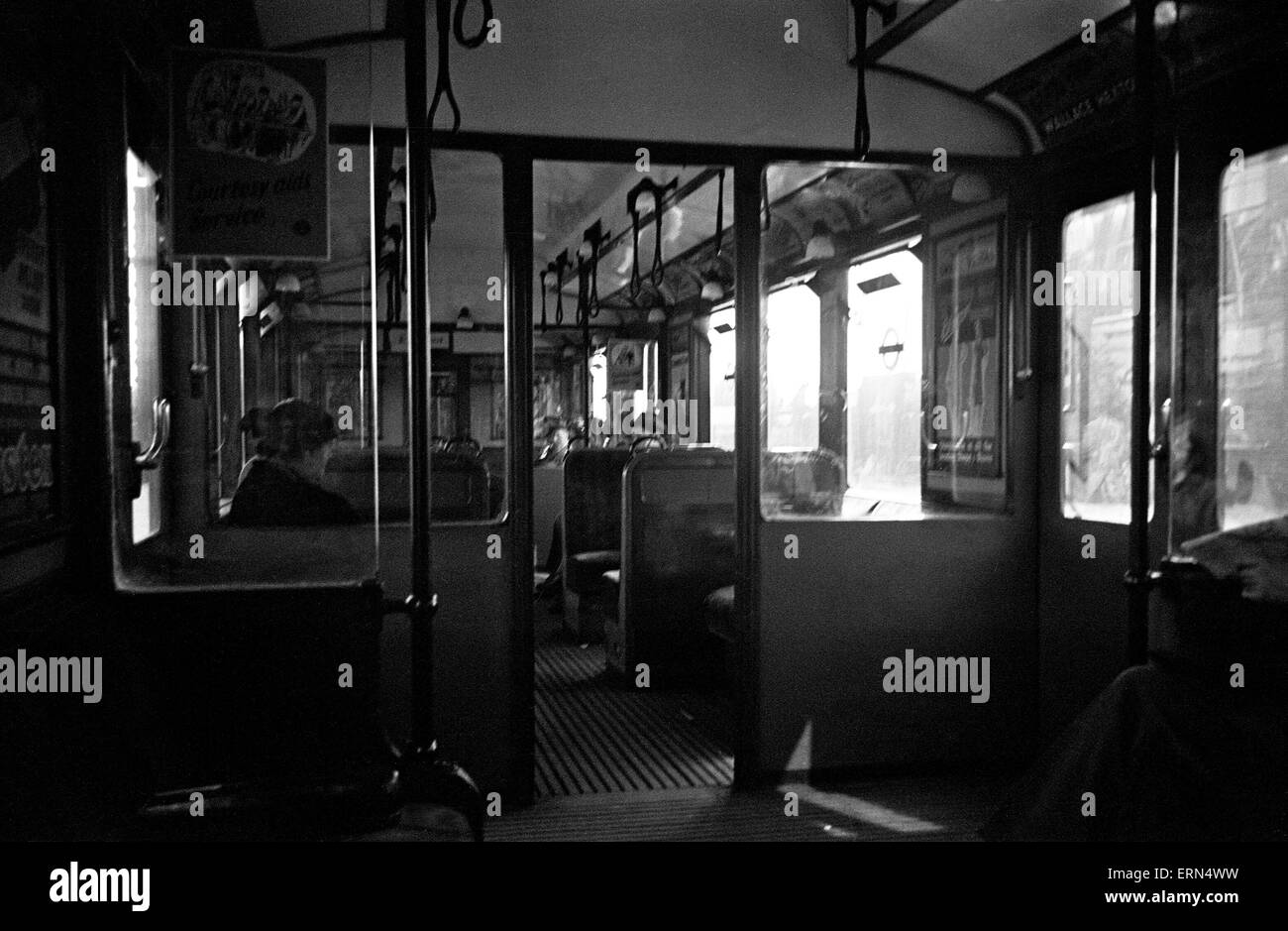Interior of a London Underground carriage .Circa 1946 - Stock Image