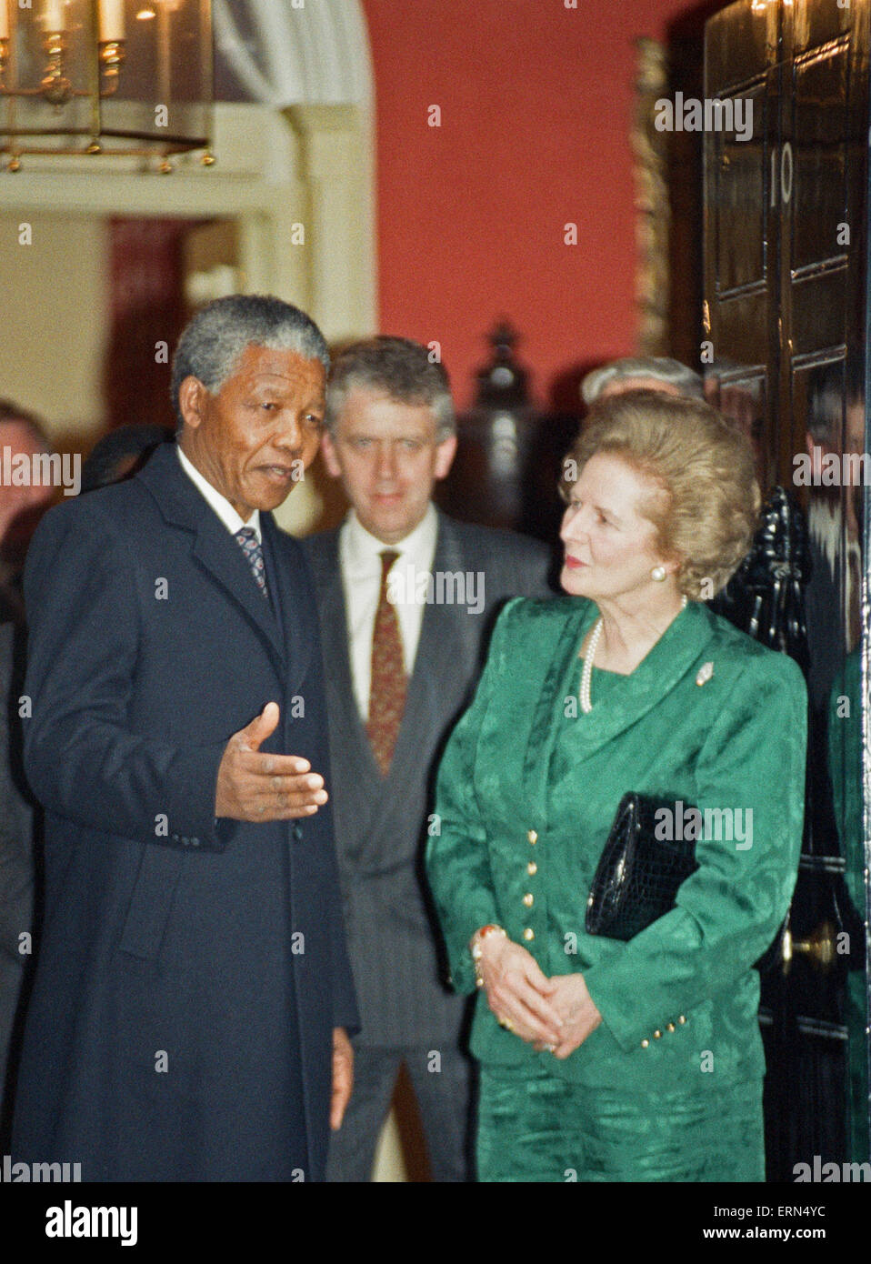 Nelson Mandela meets Margret Thatcher at No.10 Downing Street. July 4, 1990 - Stock Image