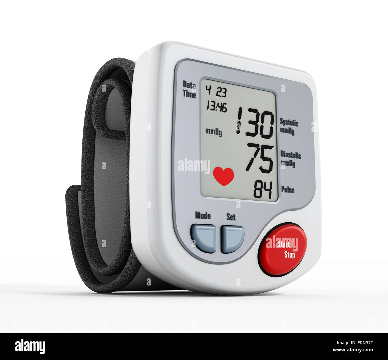 Digital blood pressure monitor isolated on white background - Stock Image