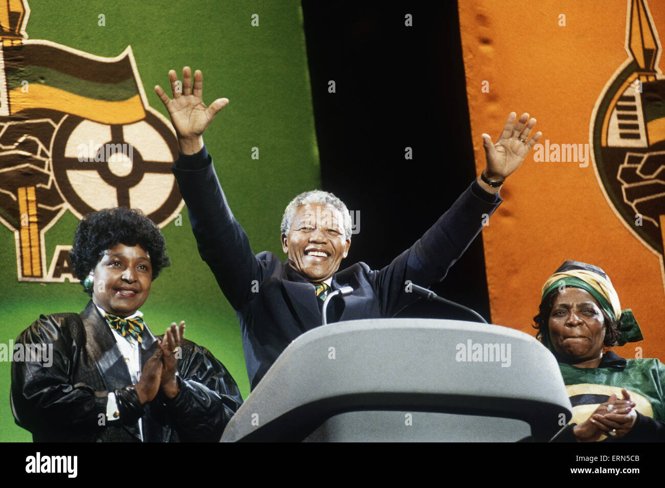 Nelson Mandela ANC President of South Africa at Wembley with his wife Winnie African National Congress February - Stock Image