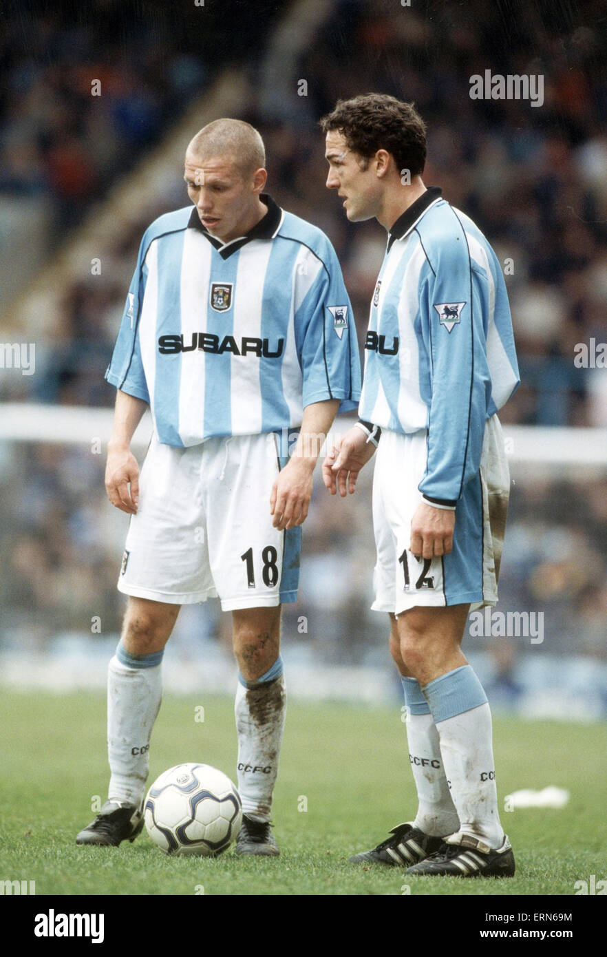 Craig Bellamy and Paul Telfer confirm over free kick, Coventry City Football Player, Circa 2001. - Stock Image