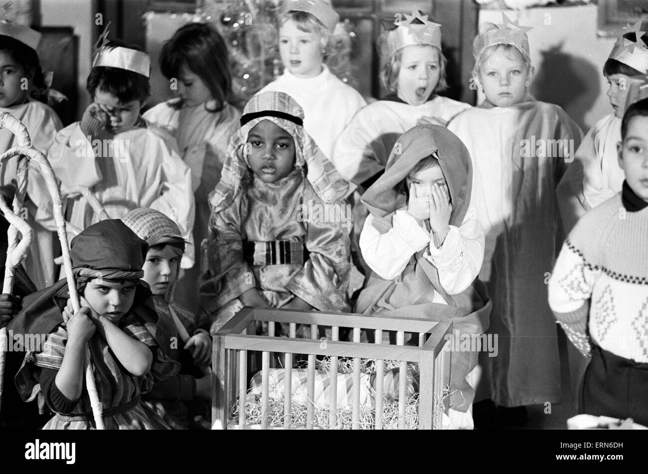 A Christmas Story being performed at North Islington Nursery School, London, 8th March 1966. - Stock Image
