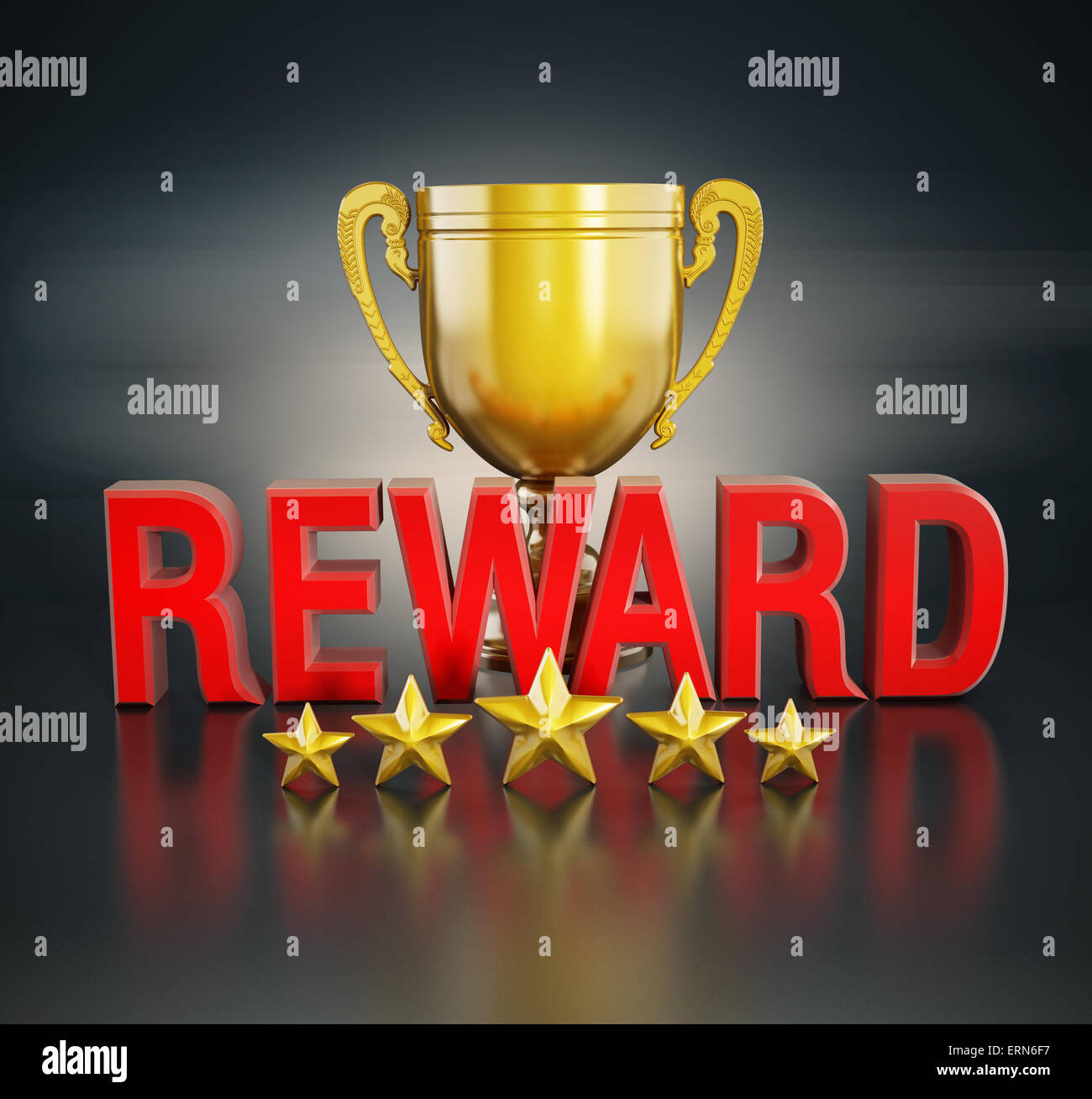 Reward text, gold cup and five stars - Stock Image