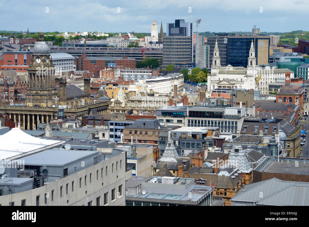 high angle view of leeds town hall, civic hall and university yorkshire united kingdom - Stock Image
