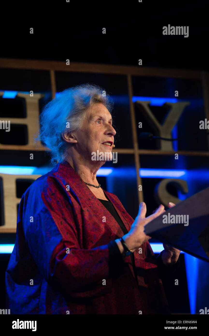 GILLIAN BEER, Author of 'Alice in Space' and expert on the work of Lewis Caroll, at the Hay Literature Festival, - Stock Image