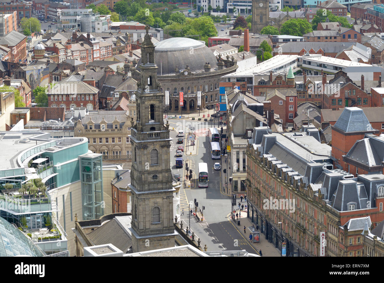 high angle view of leeds holy trinity church and the trinity centre and corn exchange yorkshire united kingdom - Stock Image
