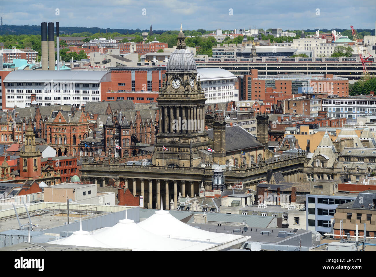 high angle view of leeds town built in 1858 designed by cuthbert brodrick  yorkshire united kingdom - Stock Image