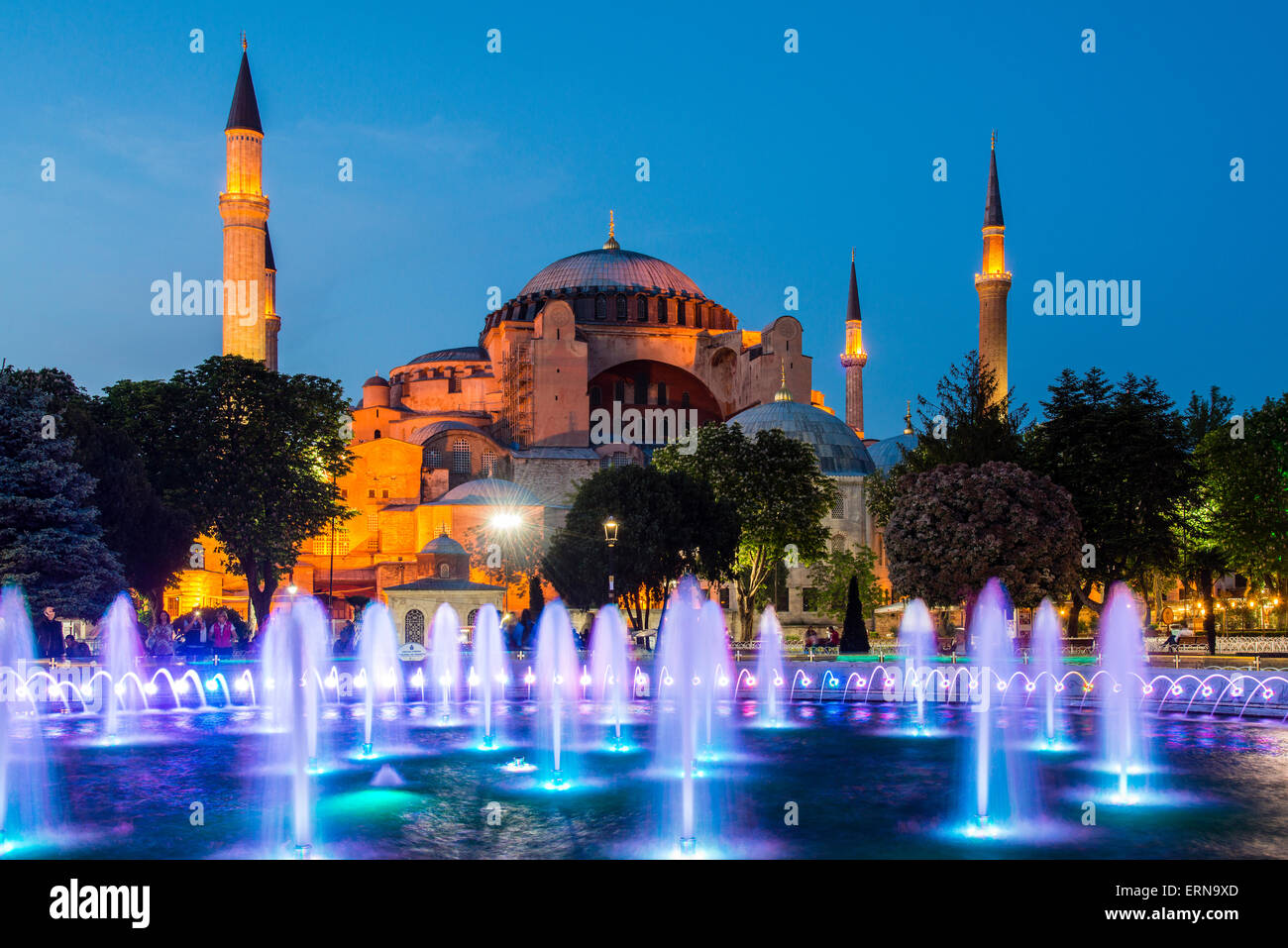 Night view of fountain light show with Hagia Sophia behind, Sultanahmet, Istanbul, Turkey - Stock Image