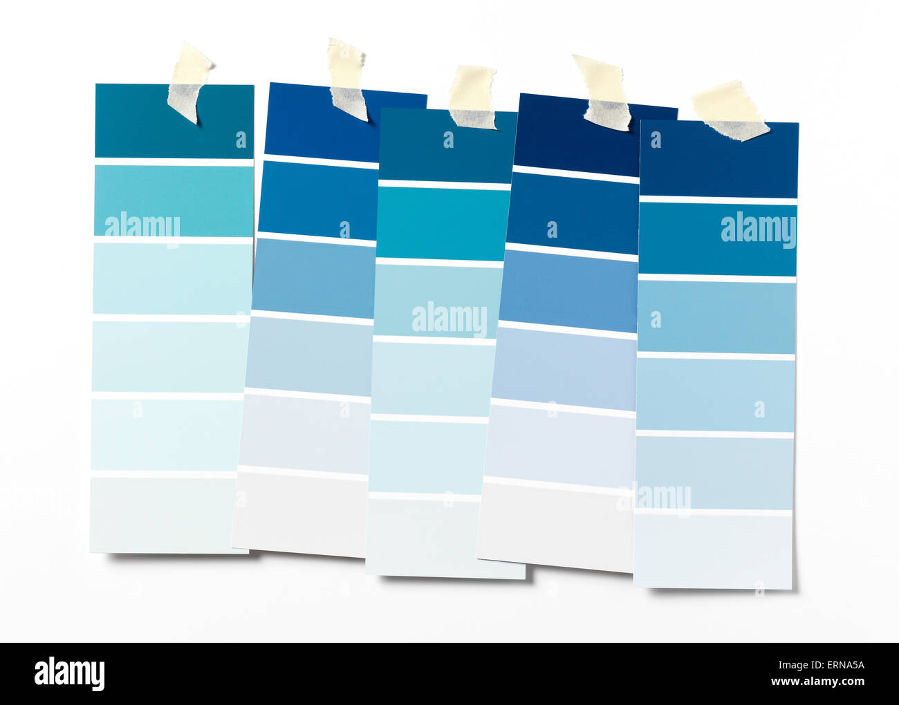 Blue Paint swatch on wall - Stock Image