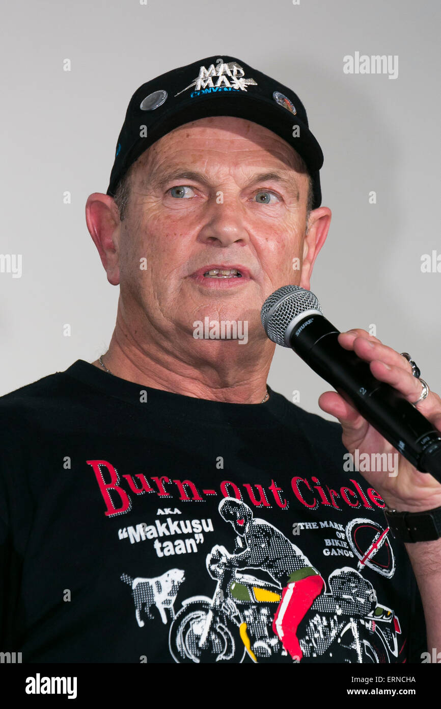 Stuntman Dale Bench from the original Mad Max movie (1979) speaks during the ''Mad Max: Fury Road'' - Stock Image