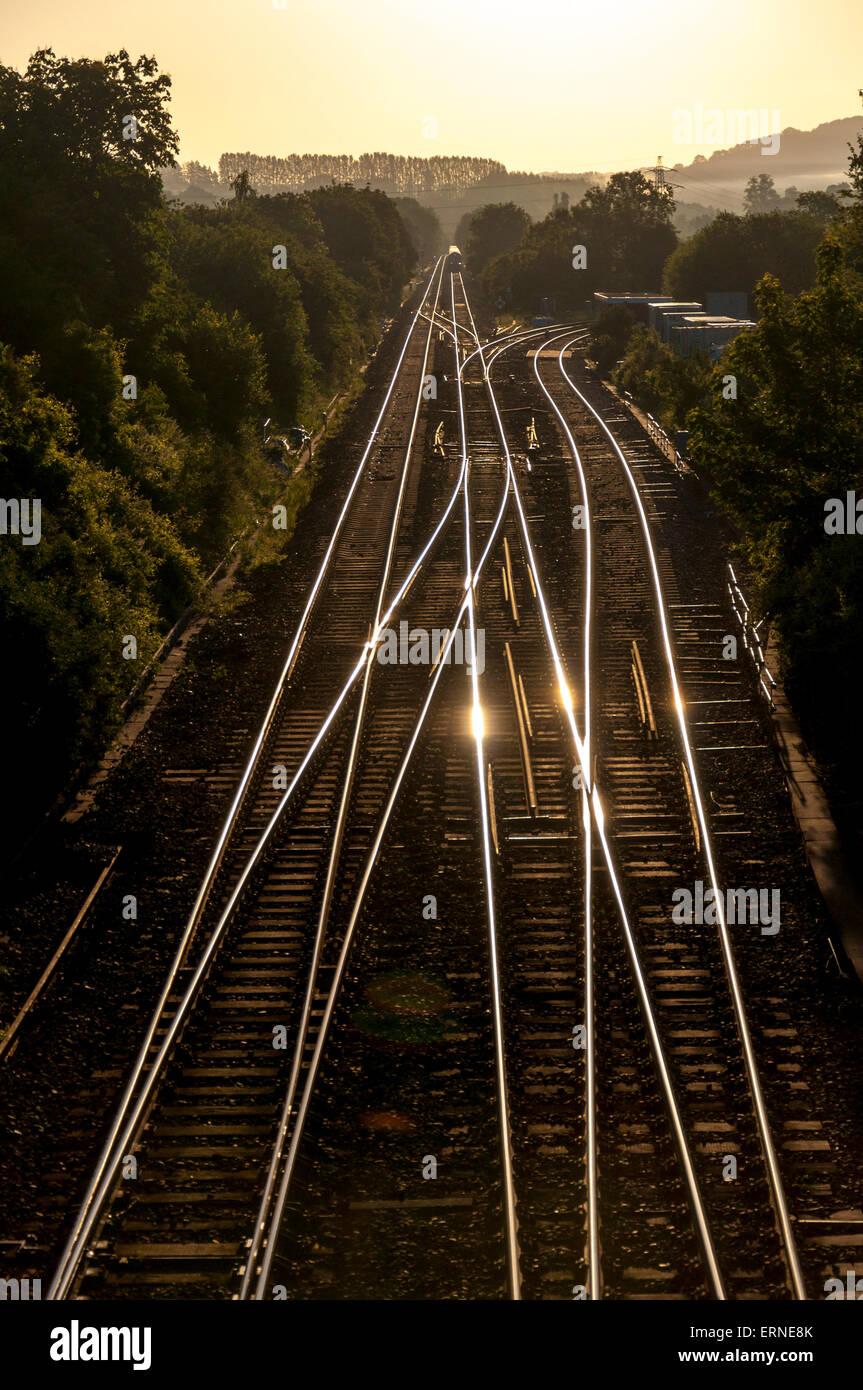 Morning train tracks Bathampton junction Somerset UK - Stock Image