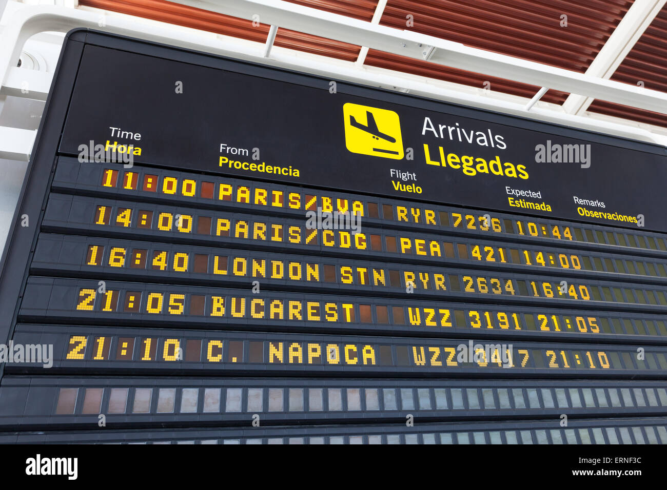 Arrivals table at the airport of Zaragoza, Spain - Stock Image