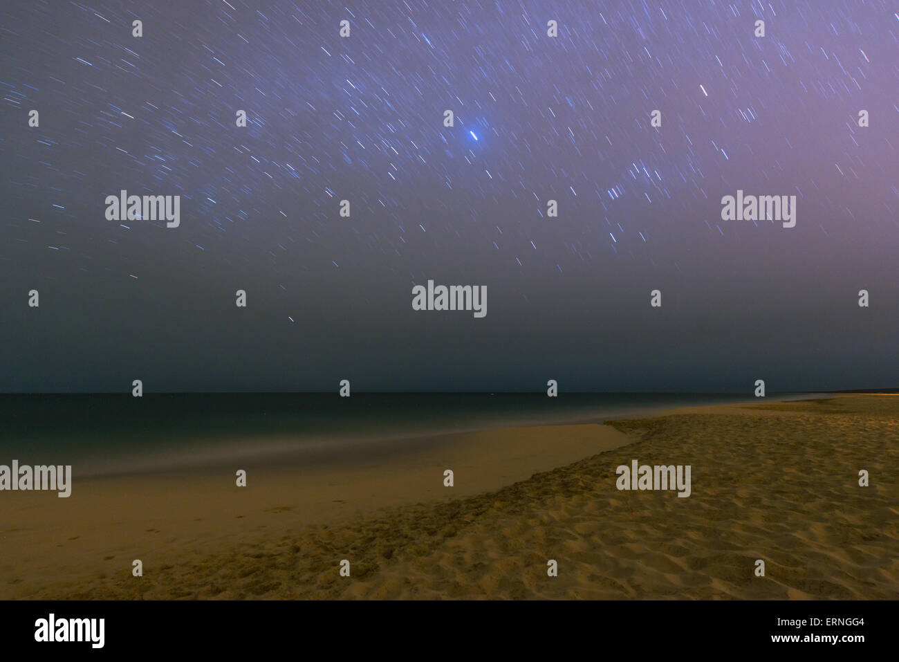 Beautiful bright sky with a lot of stars above the beach of Boa Vista in the Cabo Verde - Stock Image