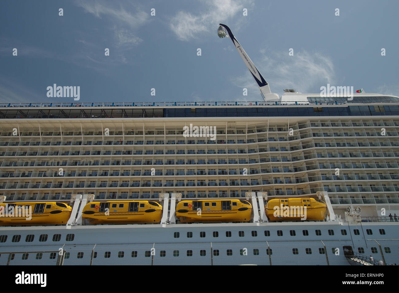 MS Anthem of the Sea operated by Royal Caribbean International docked in Lisbon - Stock Image