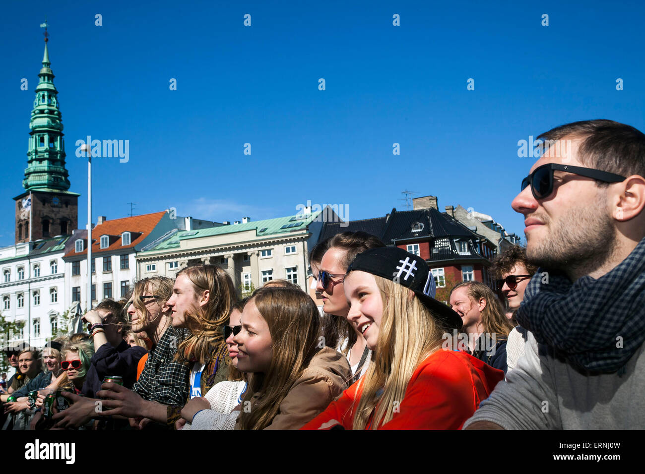 Copenhagen, Denmark, May 5th, 2015: Danish Constitution Day celebration continous into the streets around the Parliament - Stock Image