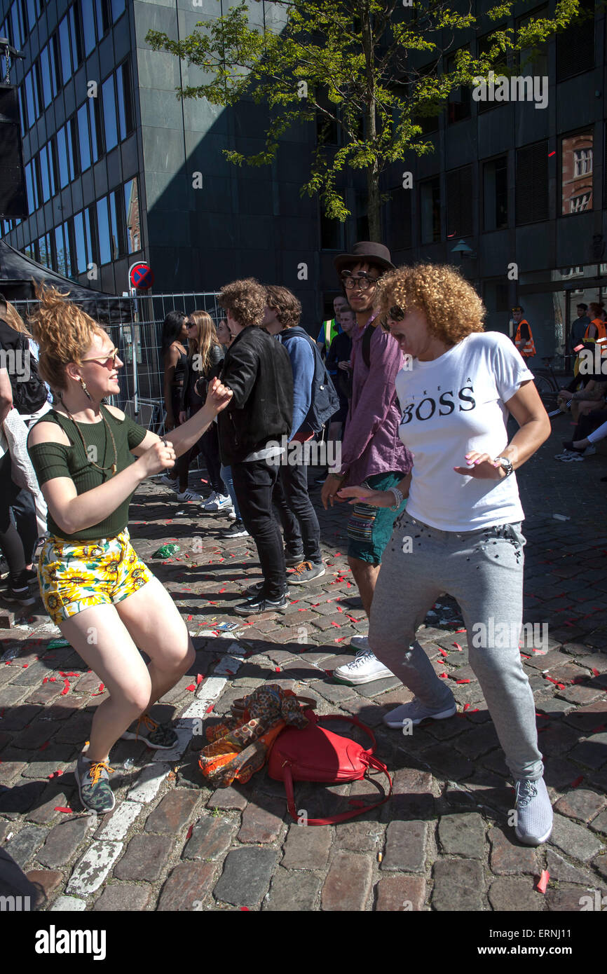 Copenhagen, Denmark, May 5th, 2015: Dancing in the street.Young people having a great time with the Copenhagen Distrtion - Stock Image