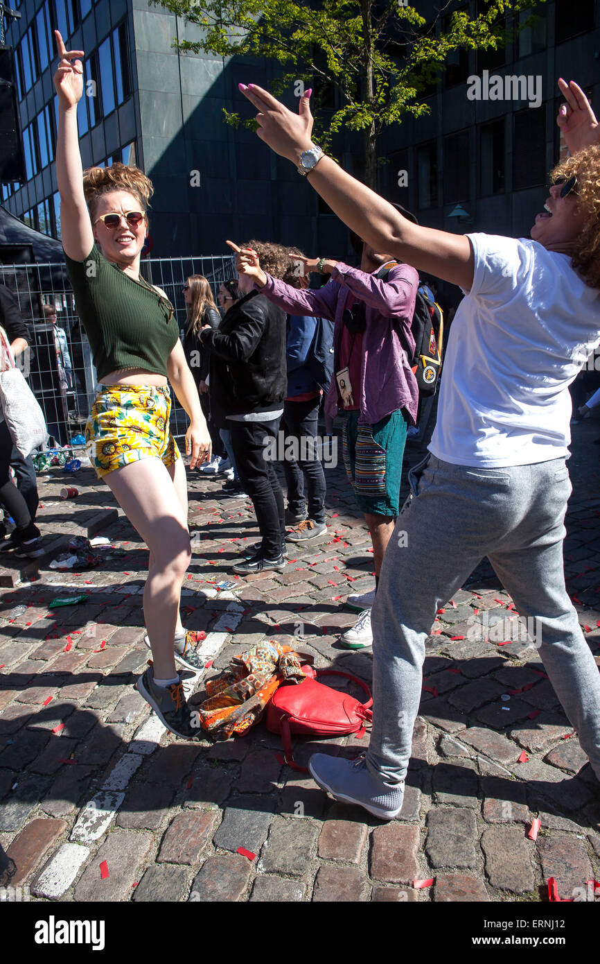Copenhagen, Denm ark, May 5th, 2015: Dancing in the street.Young people having a great time with the Copenhagen - Stock Image