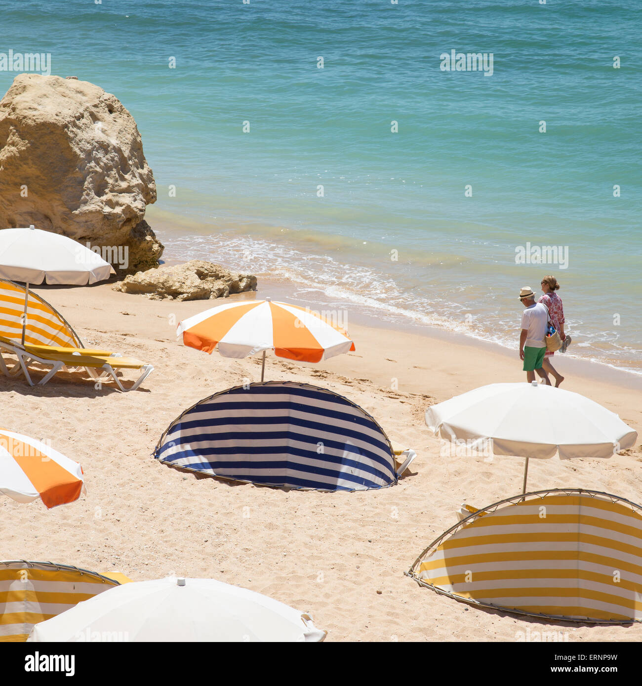 The beach in the Algarve town of Armacao de Pera southern Portugal - Stock Image