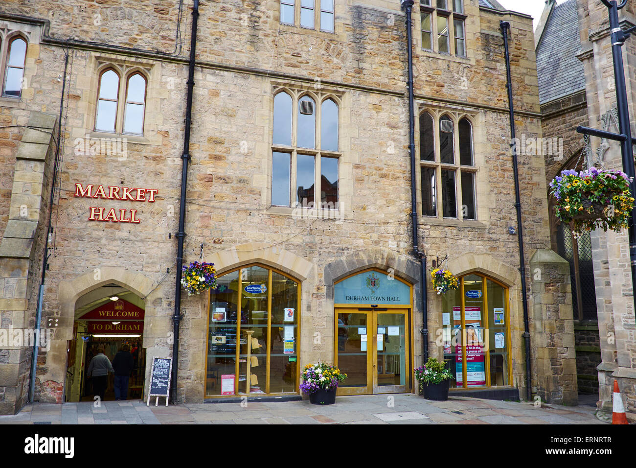 Town Hall And Entrance To Market Hall Market Place Durham Uk Stock