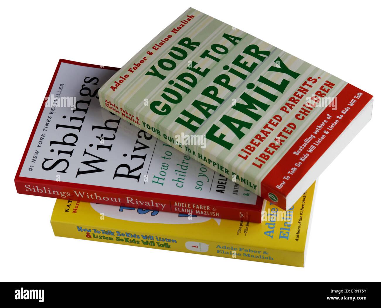 Three parenting guides by Adele Faber and Elaine Mazlish - Stock Image