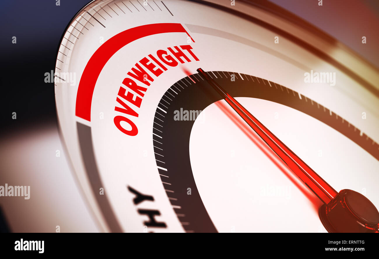 Bathroom scale with the needle pointing the word overweight. Conceptual 3D render suitable for diet or overweight - Stock Image