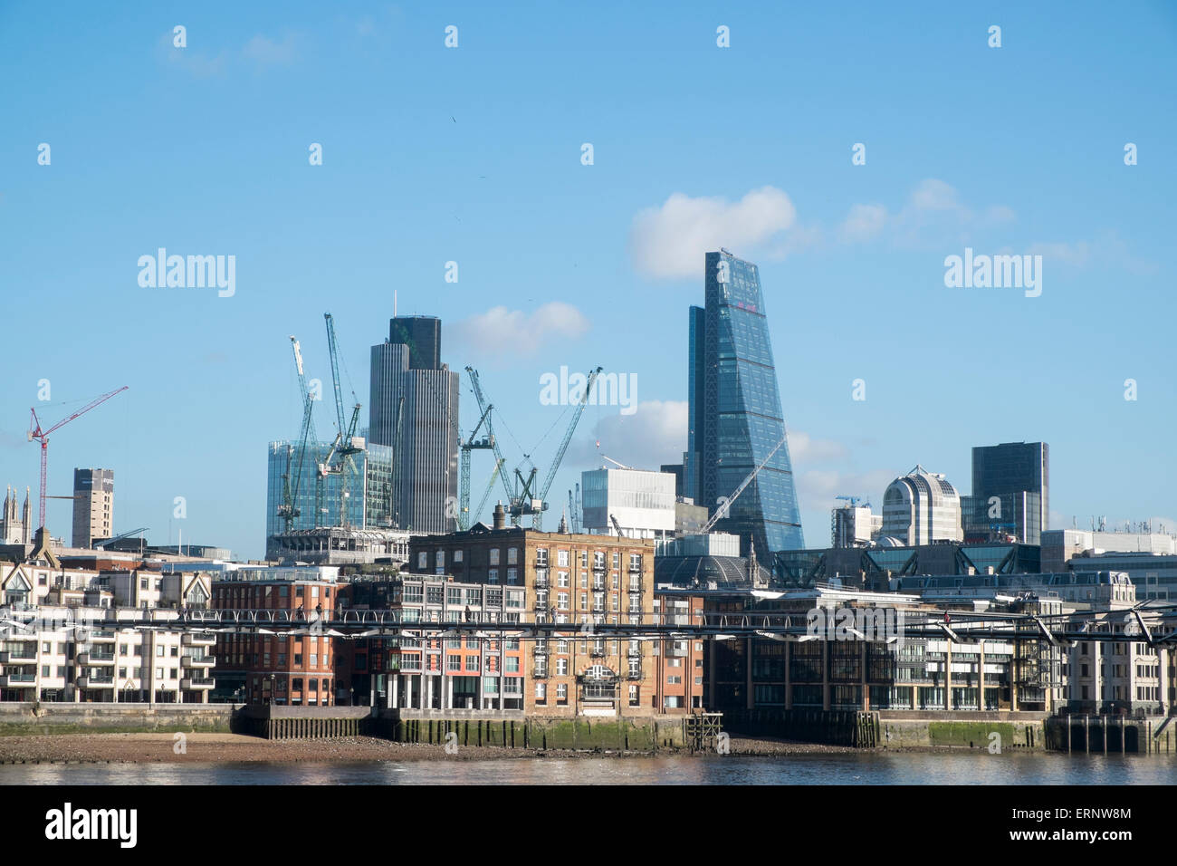Cit yof london skyline and the Cheesegrater leadenhall building developed by British Land and Oxford properties,london - Stock Image