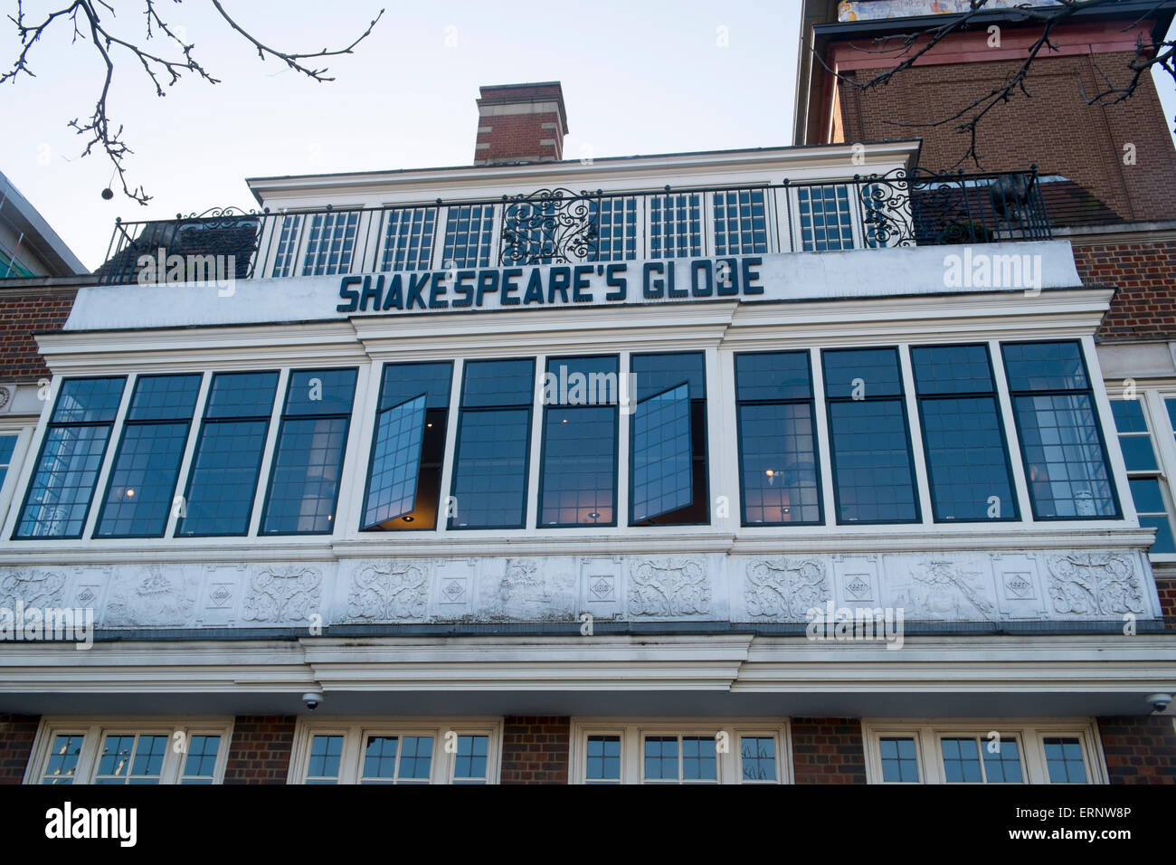 A modern reconstruction of the original Shakespeare Globe theatre named Shakespeare's Globe opened in 1997 , - Stock Image
