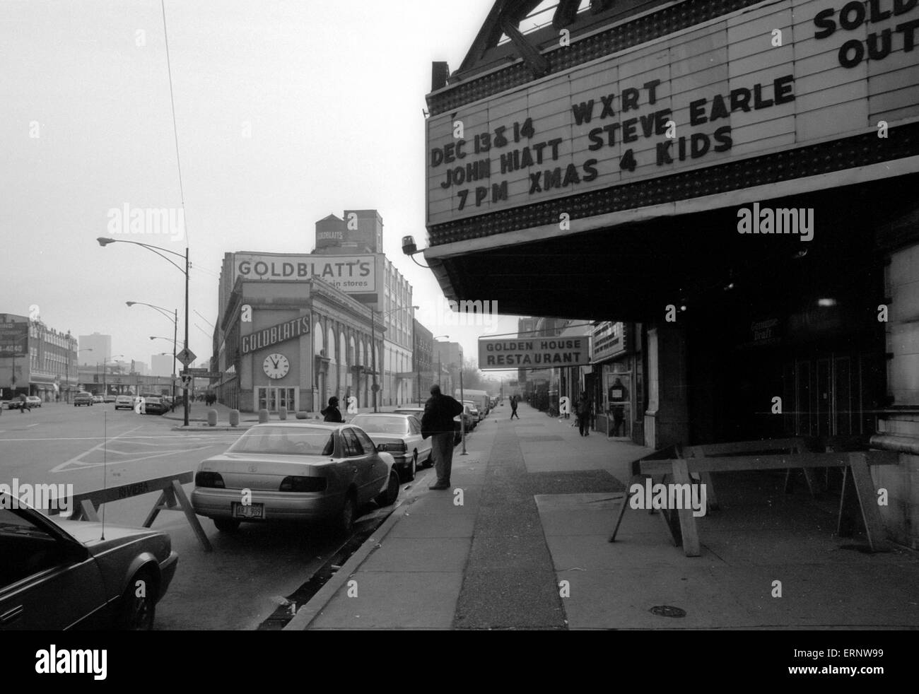 Chicago, IL, 14-Dec-1996: The Riviera Theatre (built 1917), neighboring Golden House Restaurant/House of Pancakes - Stock Image
