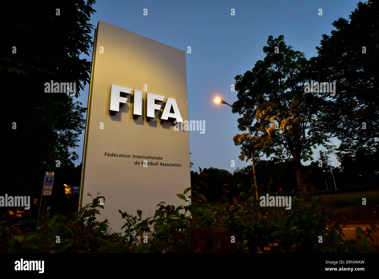 Entrance sign to the FIFA headquarters in Zurich, taken on the night Sepp Blatter announced his resignation as FIFA - Stock Image