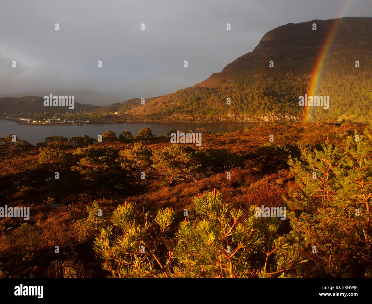 Rainbow over Ben Shieldaig, Scotland - Stock Image