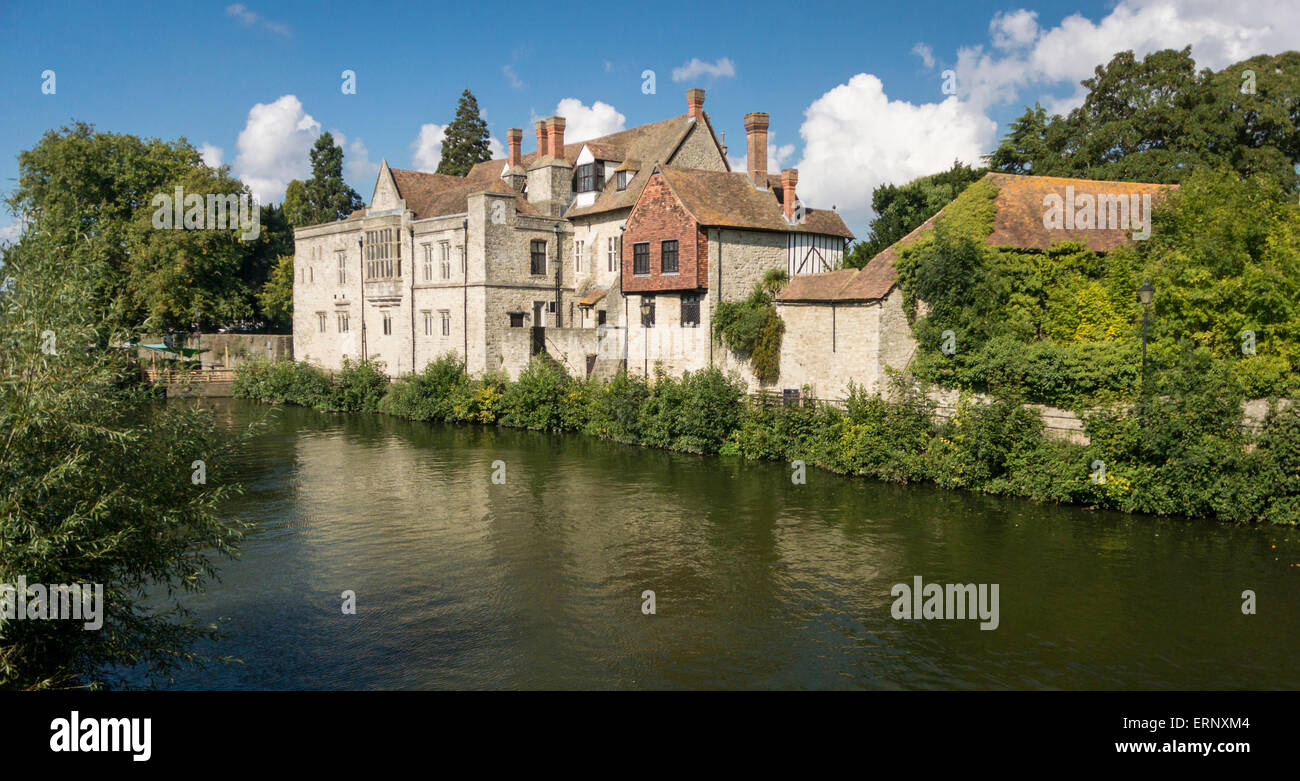 Rear view of the Archbishop's Palace and the River Medway, Maidstone, Kent UK - Stock Image