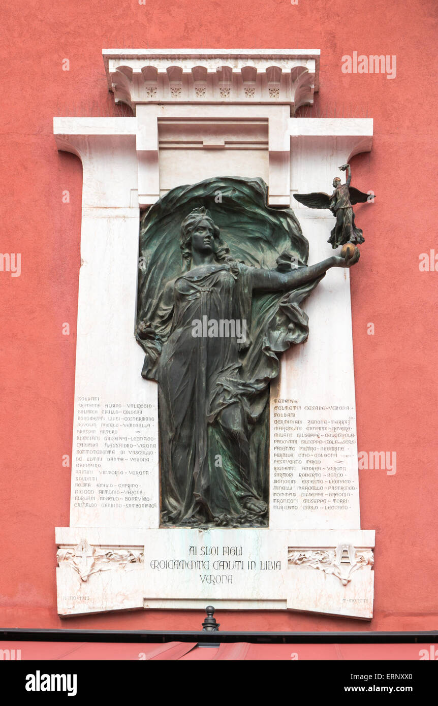 Verona, Italy - Plaque to commemorate those killed in the Libyan war in 1911-1912 - Stock Image