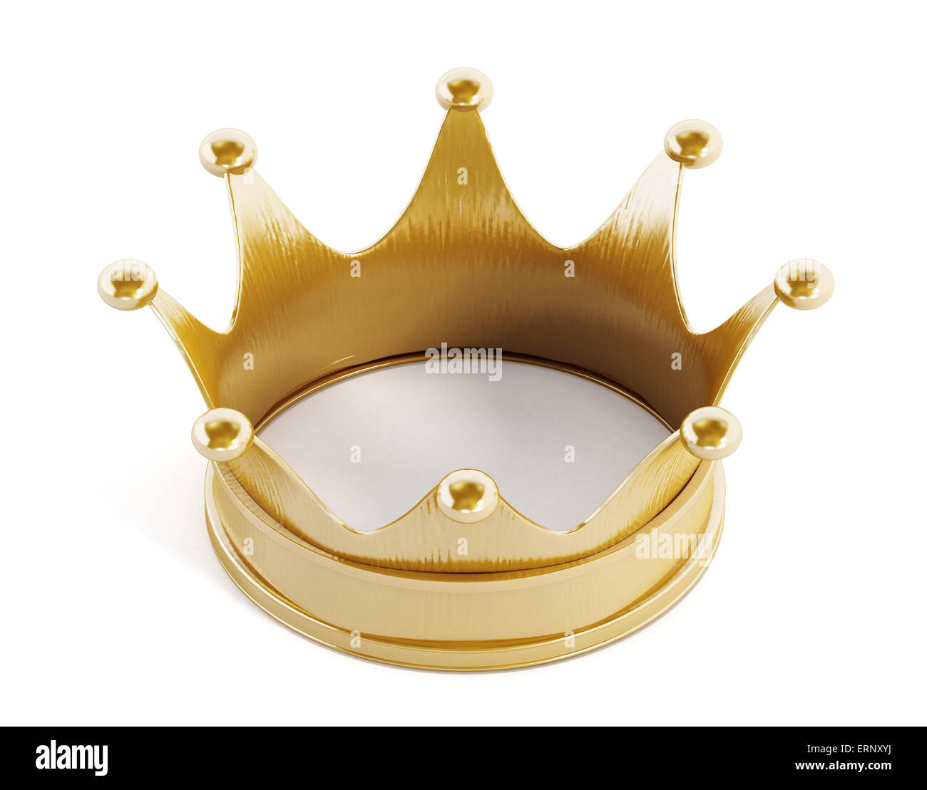 Gold crown isolated on white - Stock Image