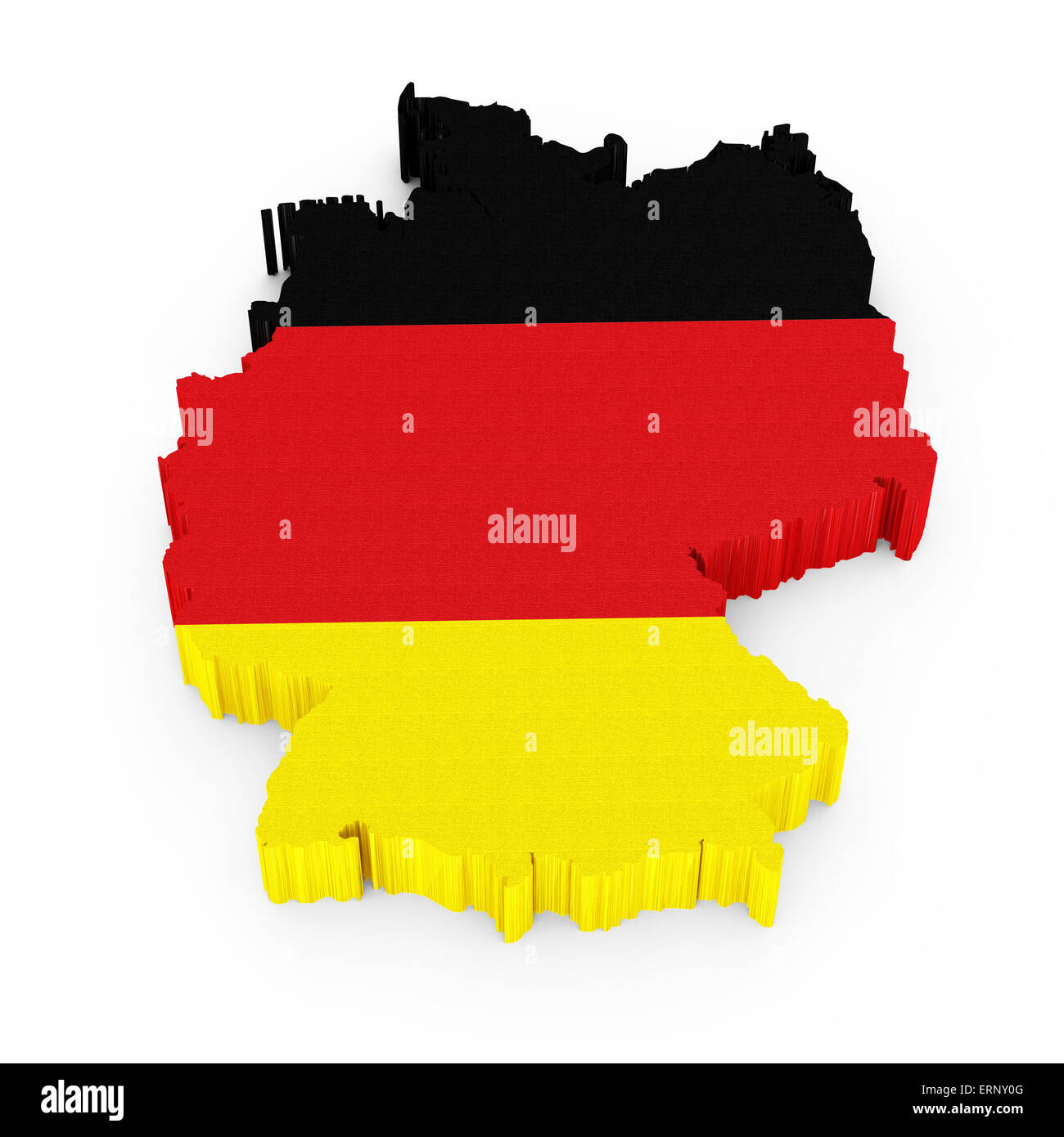 3D Germany map with German flag isolated on white background - Stock Image
