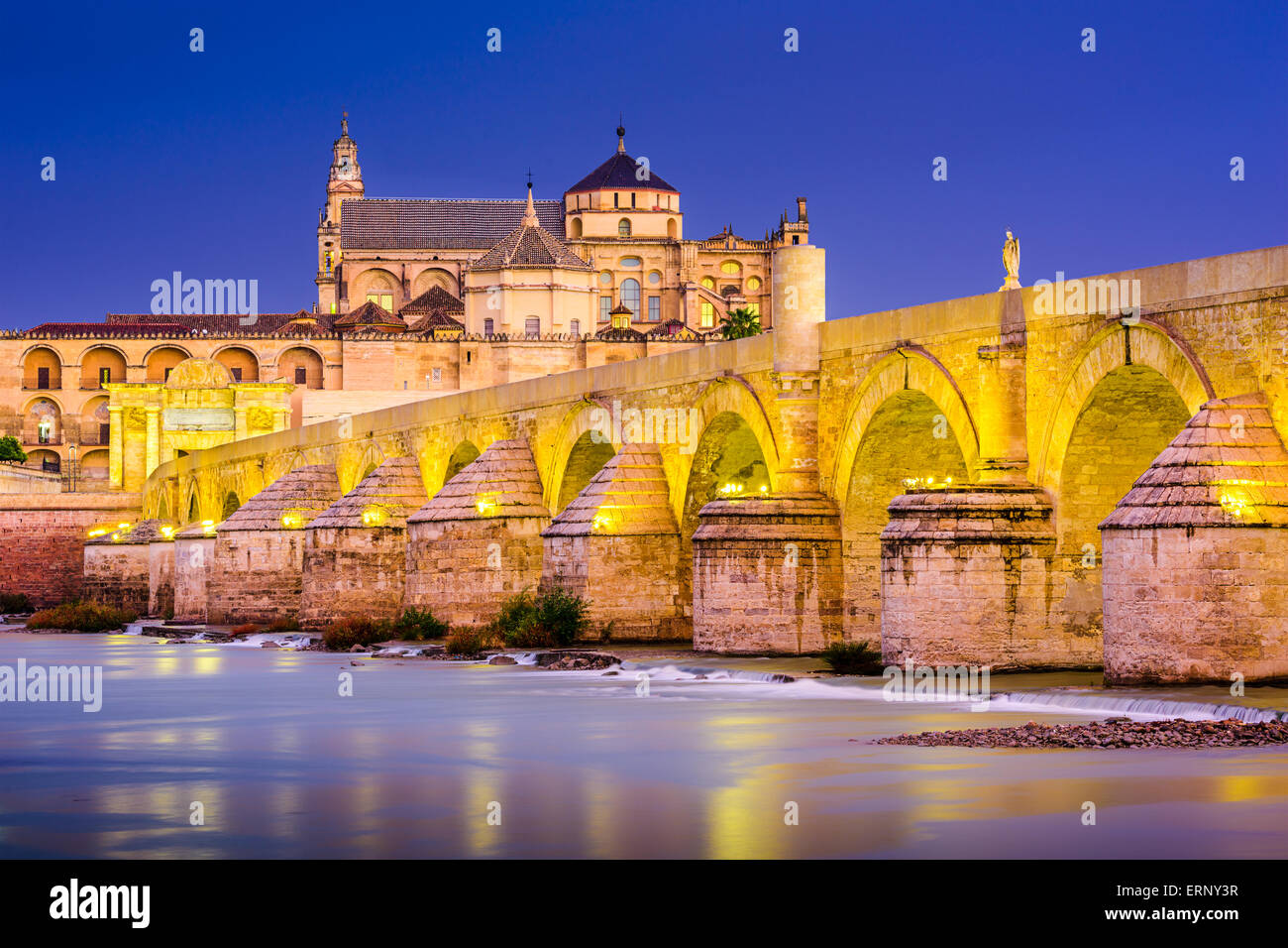 Cordoba, Spain old town skyline at the Mosque-Cathedral and Guadalquivir River. - Stock Image