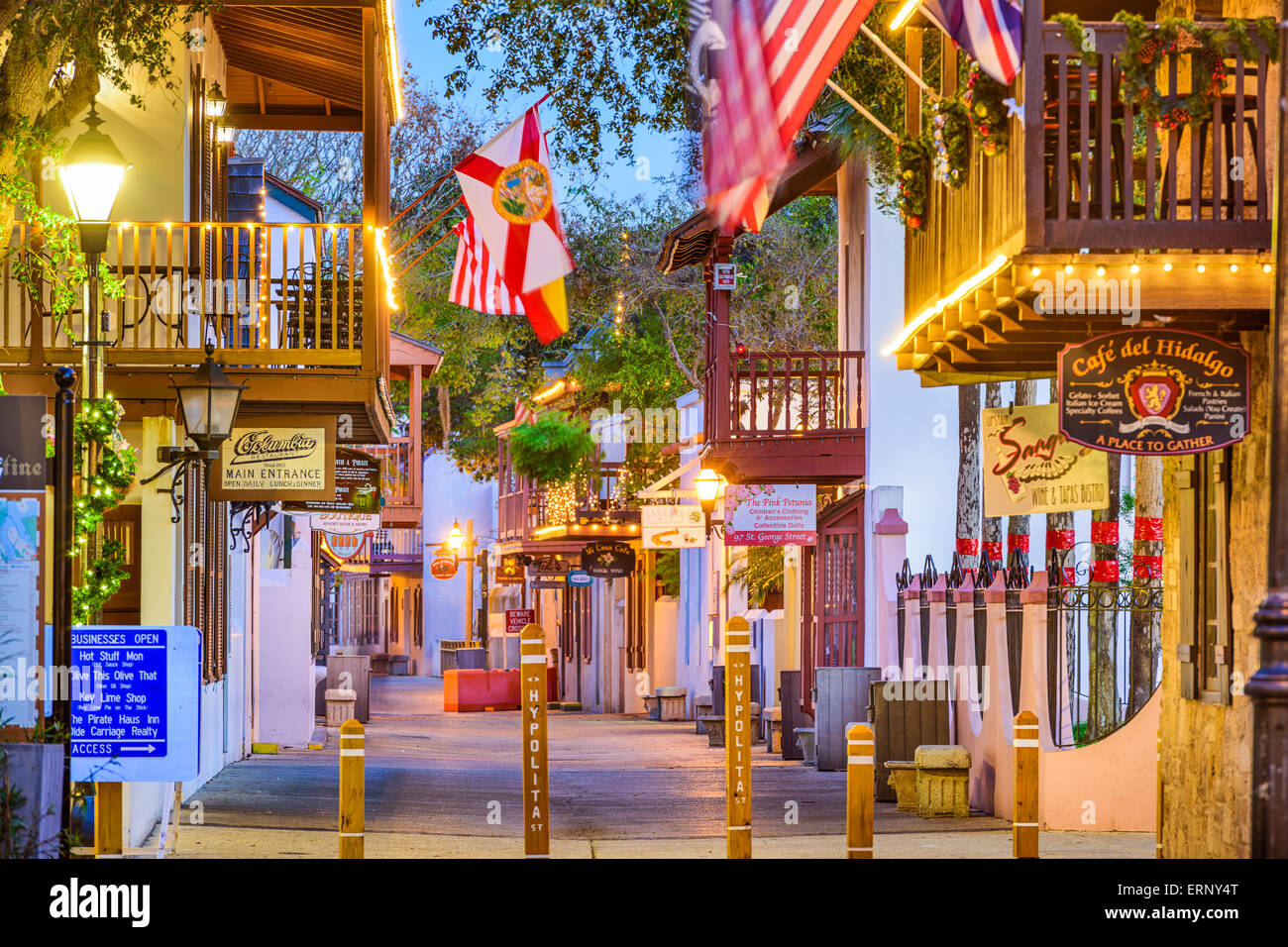 Shops and inns line St. George. Once the main street, it is still considered the heart of the city. - Stock Image