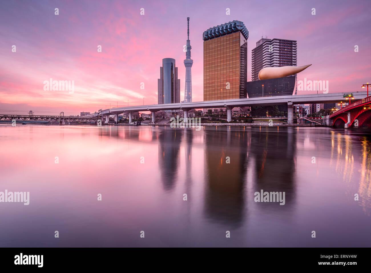 Tokyo, Japan skyline on the Sumida River at dawn. - Stock Image