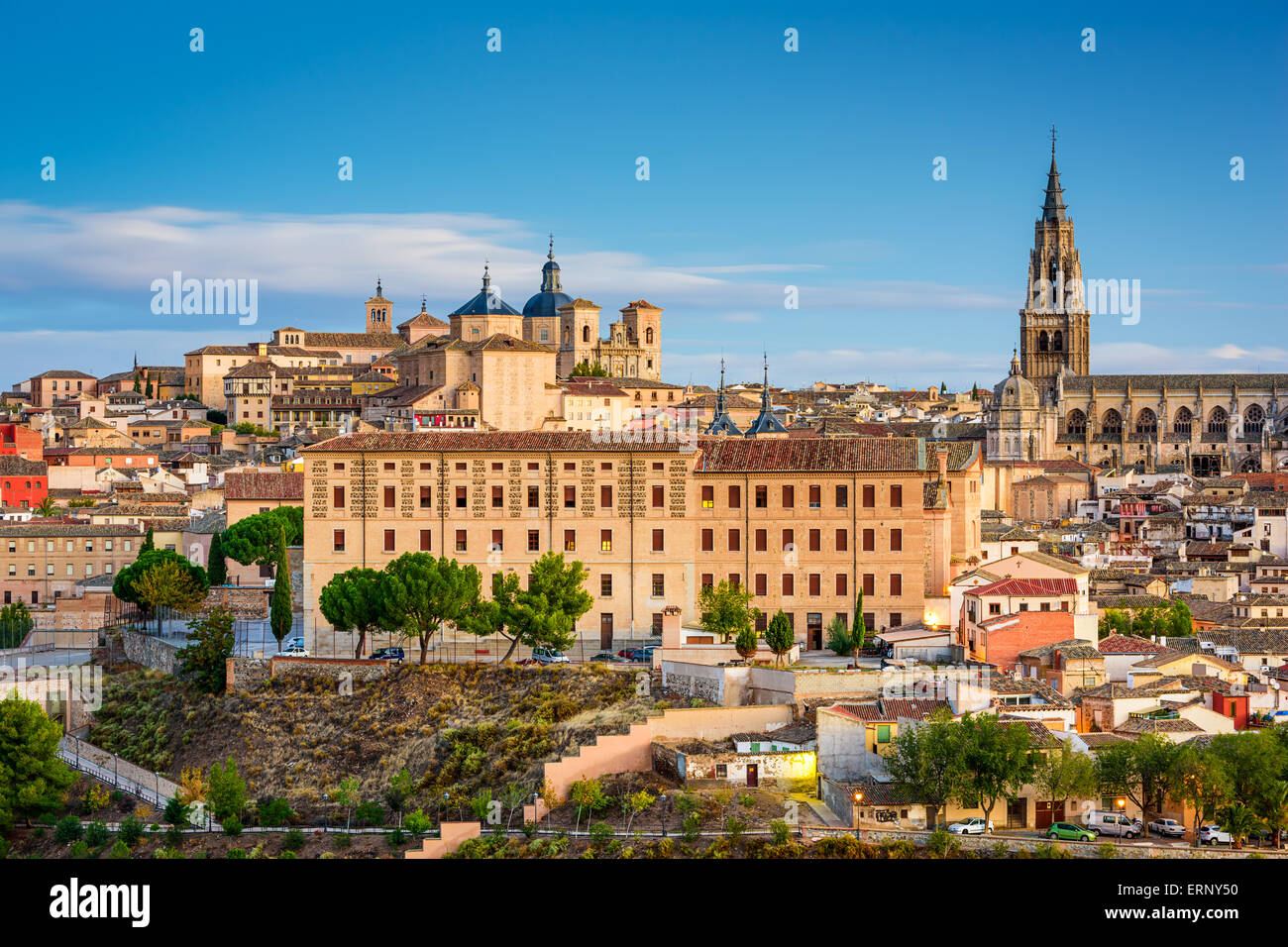 Toledo, Spain town city view at the cathedral. - Stock Image