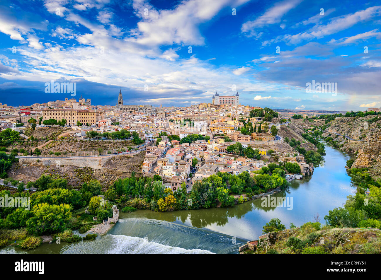 Toledo, Spain old town skyline on the Tagus River. - Stock Image