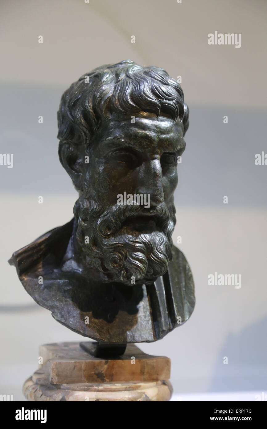 Small bust of the philosopher Epicurus (341-270 BC) From Herculaneum, Villa of the Papyri. Bronze. Roman copy. - Stock Image