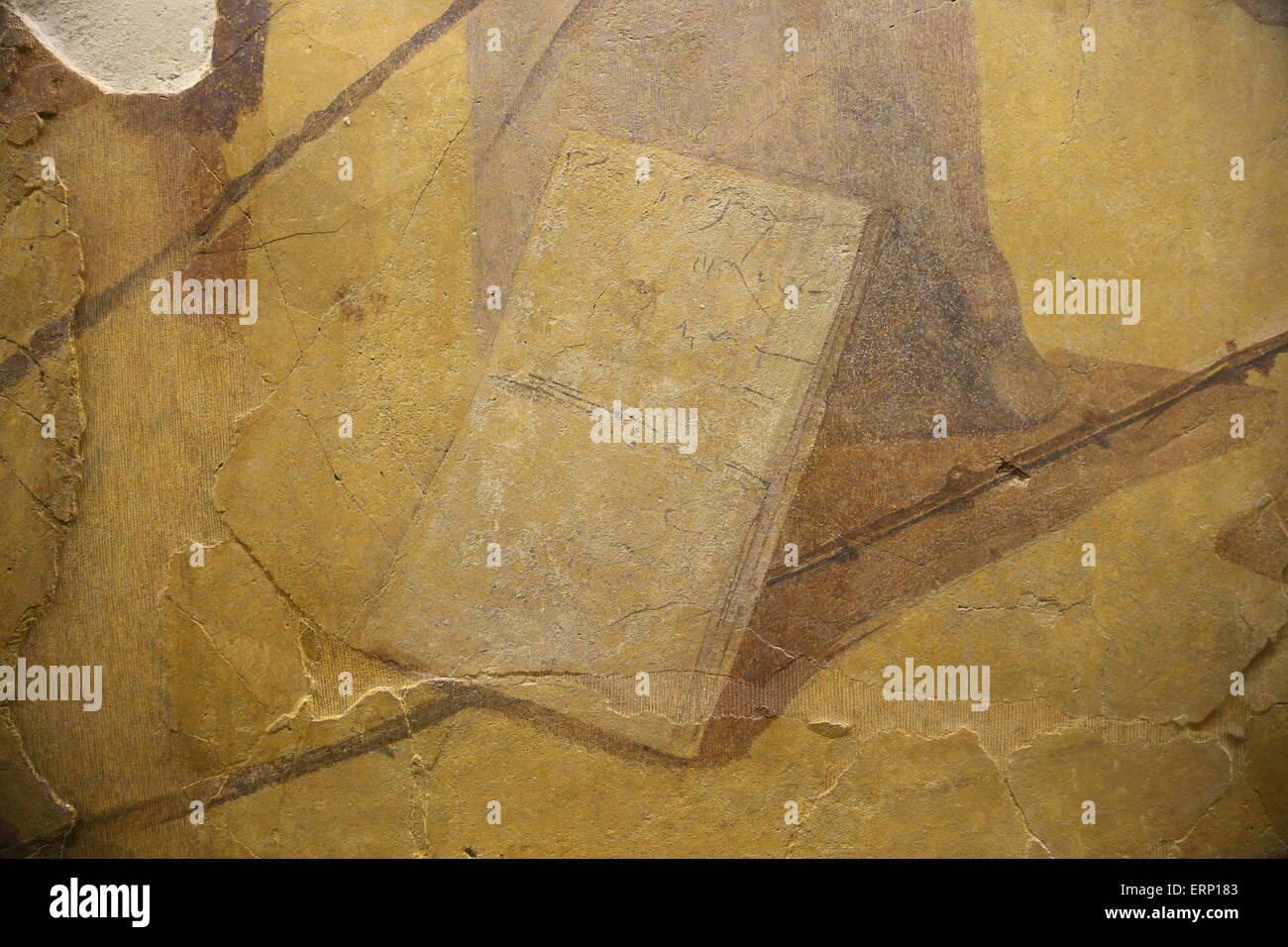 Roman era. Mural painting. Detail sandals (caligae or calceus). Rome. Italy. - Stock Image