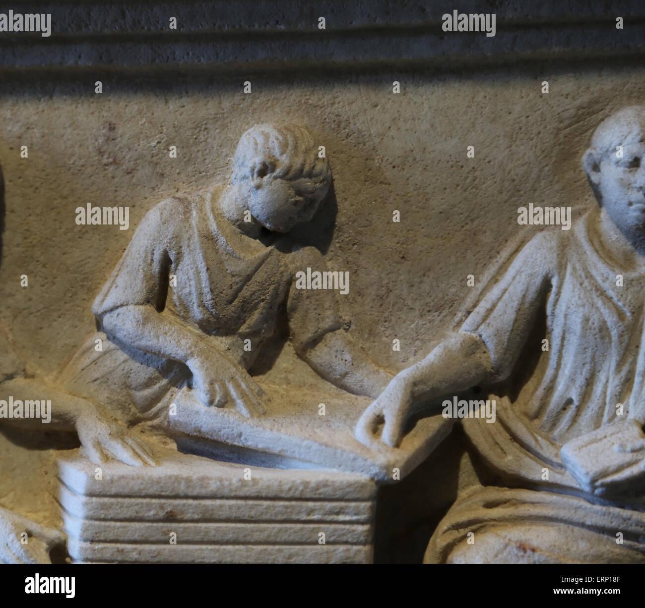 Cinerary altar of government secretaries. From Rome. 1st C. Q. Fulvius and his brother Quintus Fulvius Priscus, - Stock Image