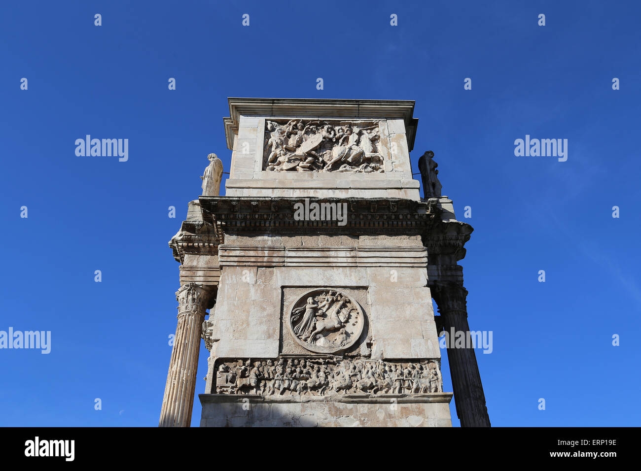 Italy. Rome. Arch of Constantine. 312 AD. Triumphal arch. Erected to celebrate Constantine's victory over Maxentus. - Stock Image
