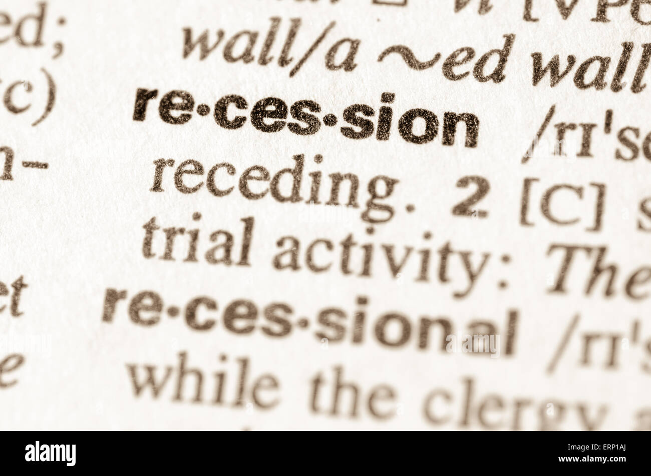 definition word recession in dictionary stock photos & definition