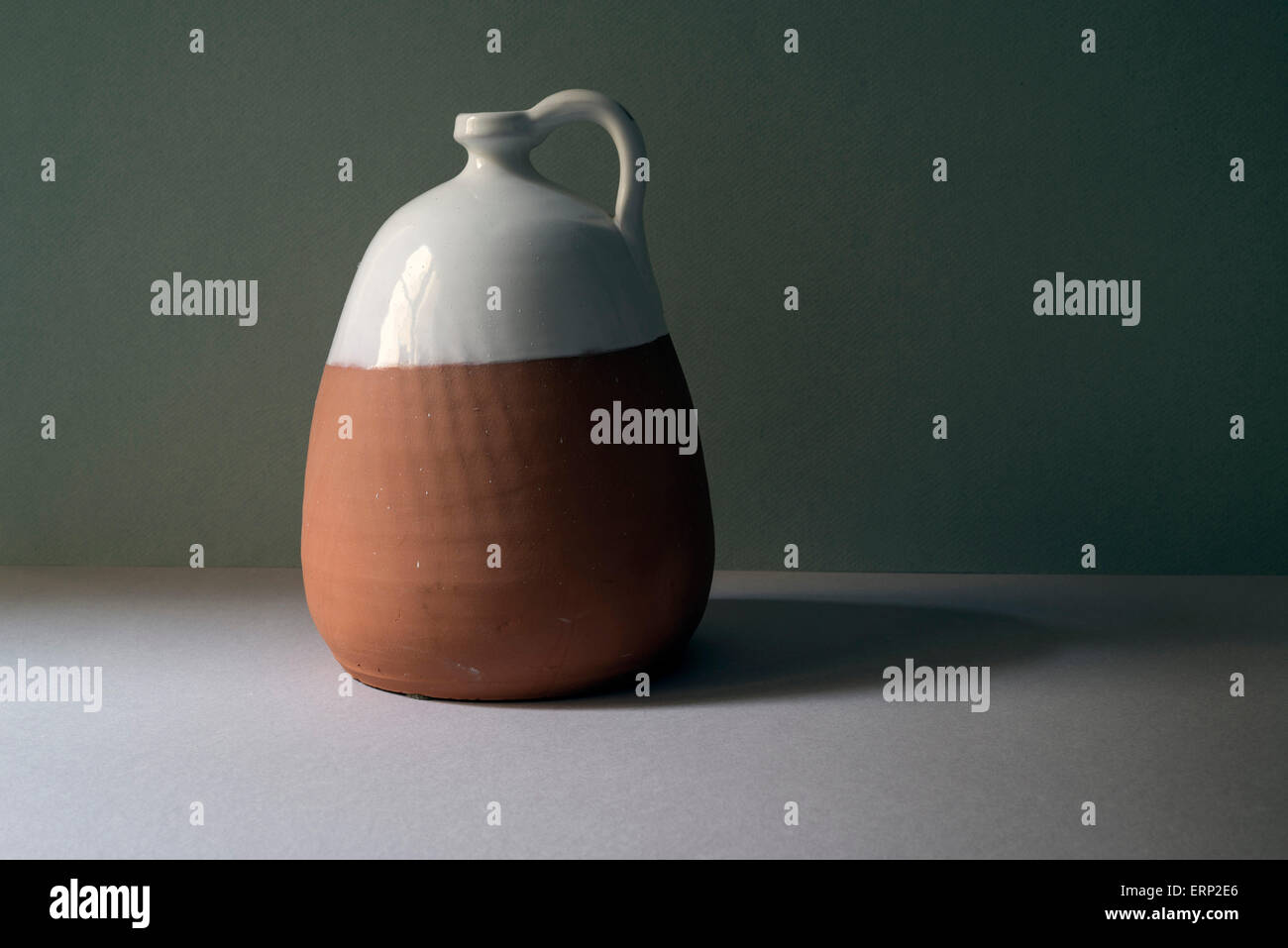 Still life with clay pottery. Copy space - Stock Image