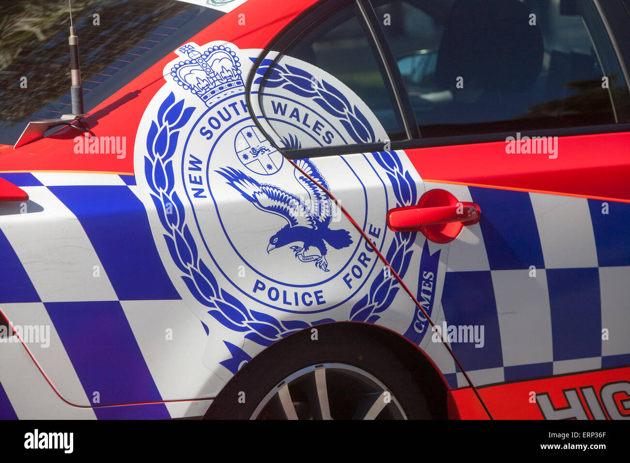 crest  of the New South Wales police force in australia. The force was formed in 1862 its motto is Culpam Poena - Stock Image