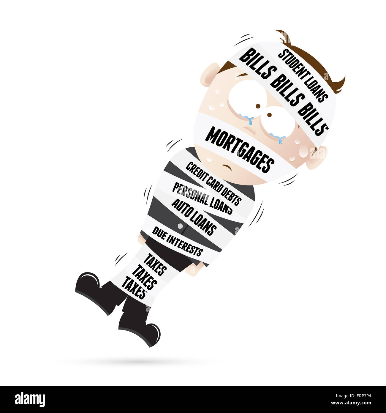 Vector cartoon illustration of a man mummified by debt tapes. - Stock Image
