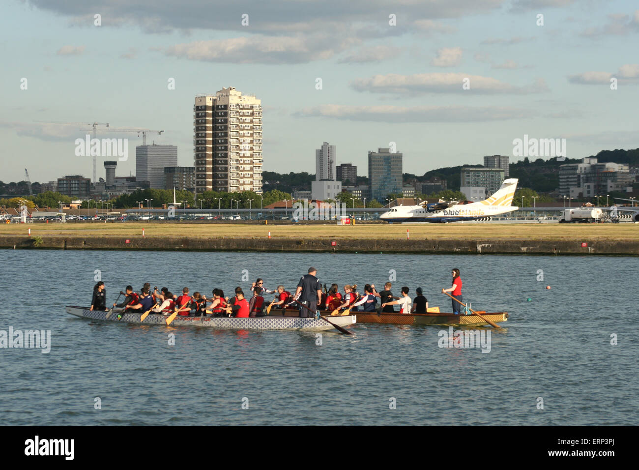 LONDON CITY DOCKLANDS AIRPORT ROWING BOAT - Stock Image