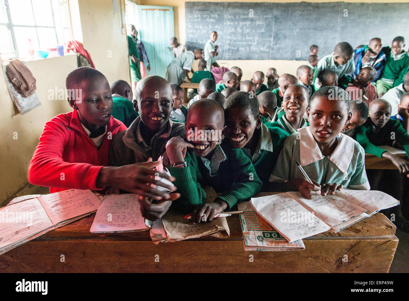 Young students at Olesere primary school Rift Valley Kenya Africa Stock Photo